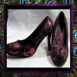 Pink Black Skull Sequined Pumps by Iron Fi…